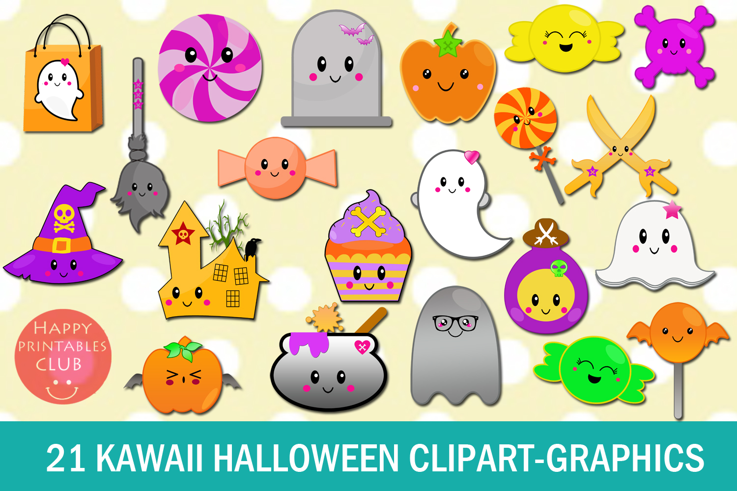 Download Free 21 Cute Kawaii Halloween Graphics Clipart Graphic By Happy for Cricut Explore, Silhouette and other cutting machines.