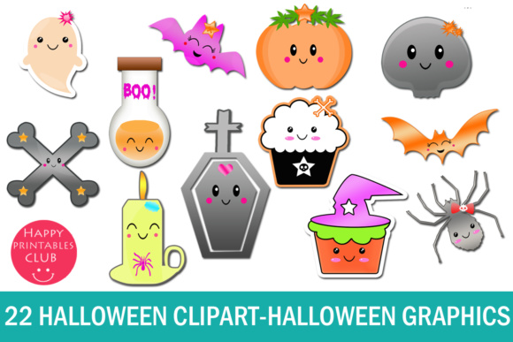 22 Kawaii Halloween Clipart-Halloween Graphics Clipart Graphic Download