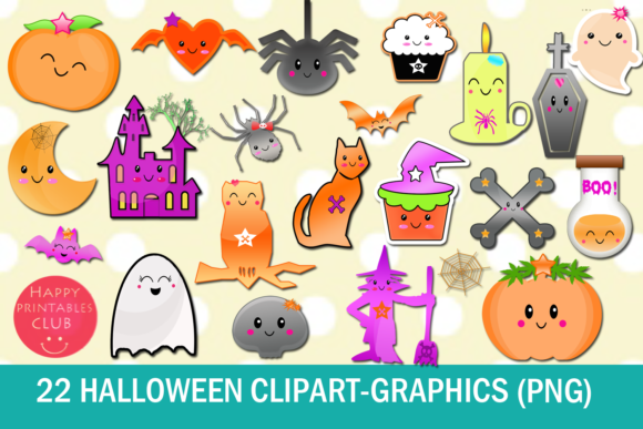 22 Kawaii Halloween Clipart-Halloween Graphics Clipart Graphic
