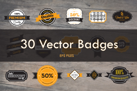 Print on Demand: 30 Vector Badges Graphic Logos By vito12