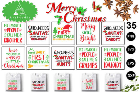 Print on Demand: 35 Christmas Big Bundle Graphic Print Templates By svgbundle.net