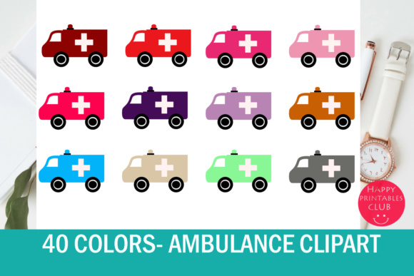 Print on Demand: 40 Ambulance Clipart Set Graphic Illustrations By Happy Printables Club