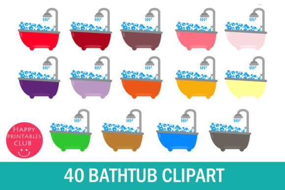 Print on Demand: 40 Bathtub Clipart Graphic Illustrations By Happy Printables Club
