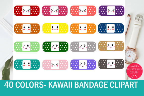 Print on Demand: 40 Kawaii Bandage Graphic Illustrations By Happy Printables Club