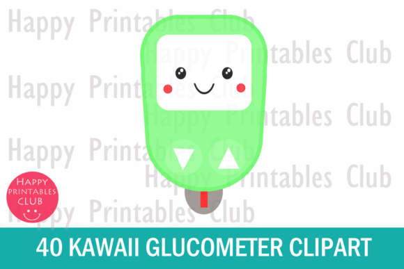 Print on Demand: 40 Kawaii Glucometer Clipart- Glucose Meter Clipart-Kawaii Clipart Graphic Illustrations By Happy Printables Club - Image 2