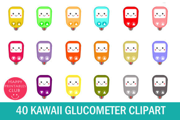 Print on Demand: 40 Kawaii Glucometer Clipart- Glucose Meter Clipart-Kawaii Clipart Graphic Illustrations By Happy Printables Club