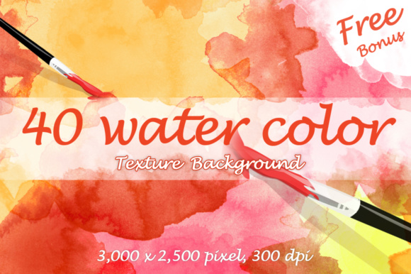 Print on Demand: 40 Watercolor Textures + Free Bonus Graphic Illustrations By vito12