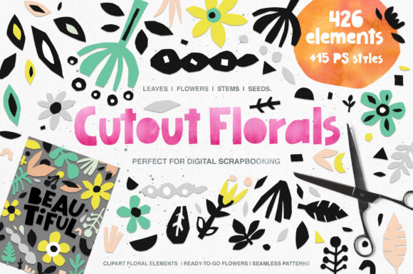 426 Cutout Floral Elements Graphic Illustrations By Favete Art