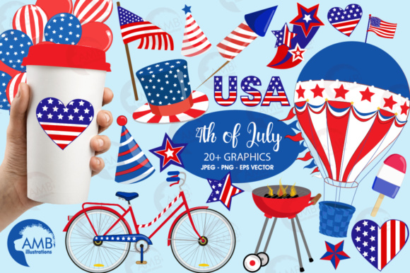 4th of July Clipart Graphic Illustrations By AMBillustrations