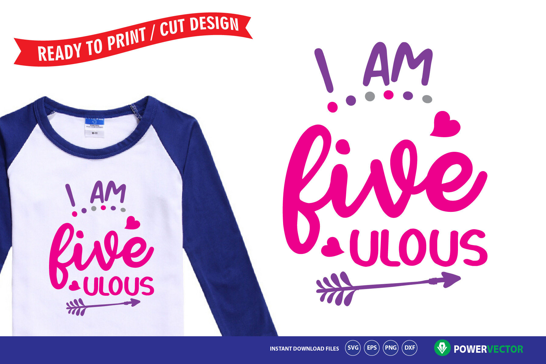 Download Free 5th Birthday I Am Five Ulous Svg Graphic By Powervector for Cricut Explore, Silhouette and other cutting machines.