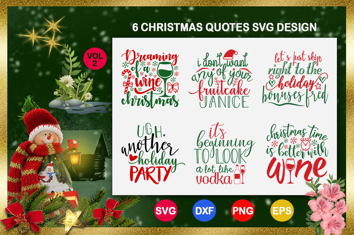 Download Free 6 Christmas Quotes Bundle Graphic By Design Palace Creative SVG Cut Files