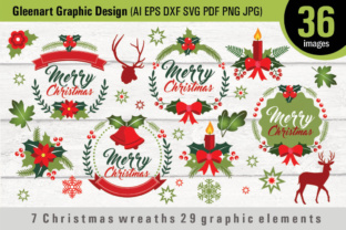 7 Christmas Wreaths 29 Graphic Elements Graphic By Gleenart Graphic Design