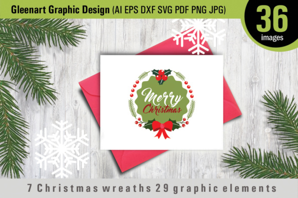 Download Free 7 Christmas Wreaths 29 Graphic Elements Grafico Por Gleenart for Cricut Explore, Silhouette and other cutting machines.