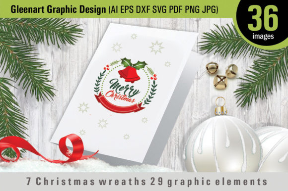 7 Christmas Wreaths 29 Graphic Elements Graphic By Gleenart