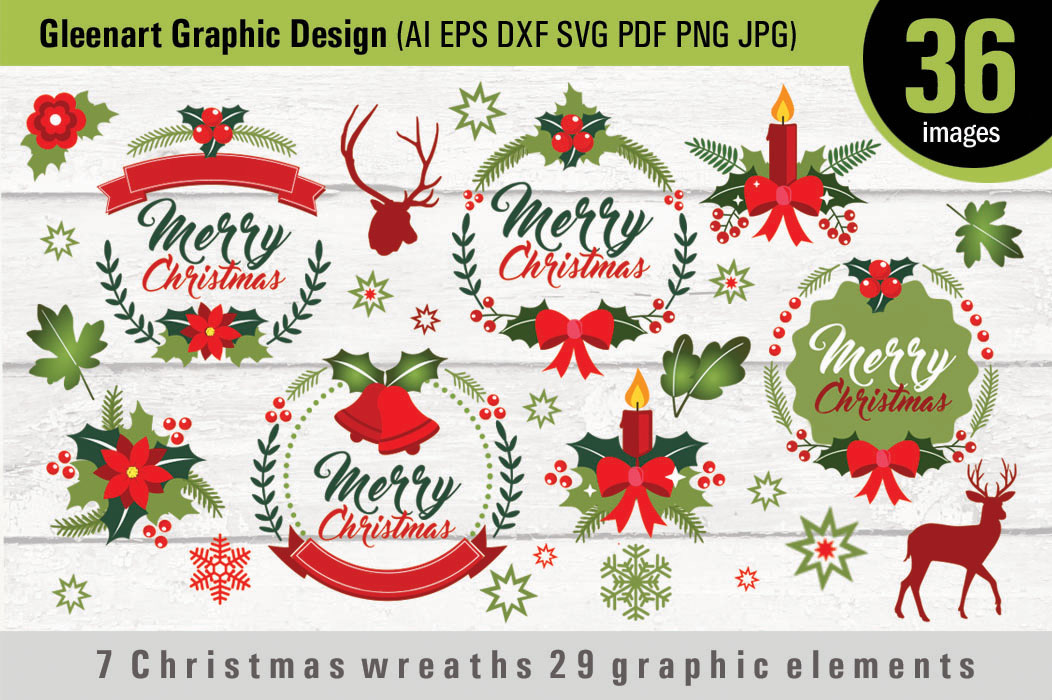 Download Free 7 Christmas Wreaths 29 Graphic Elements Graphic By Gleenart for Cricut Explore, Silhouette and other cutting machines.