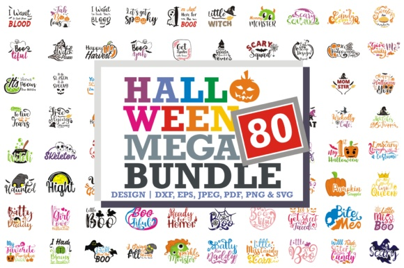 Print on Demand: 80 Halloween Quotes Mega Bundle Grafik Designvorlagen von TheLucky