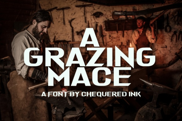 Print on Demand: A Grazing Mace Display Font By Chequered Ink
