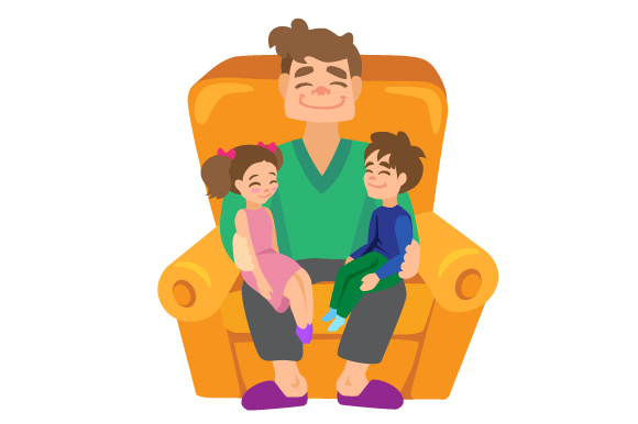 Download Free A Dad Holding Kids In His Lap Svg Cut File By Creative Fabrica for Cricut Explore, Silhouette and other cutting machines.