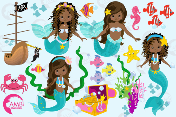 AA Mermaid Clipart Graphic Illustrations By AMBillustrations - Image 4
