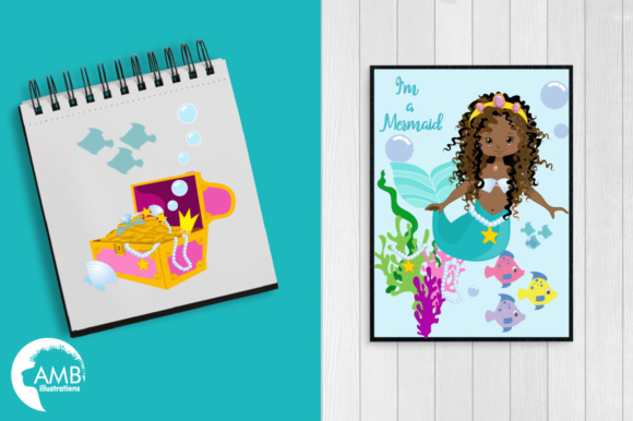 AA Mermaid Clipart Graphic Illustrations By AMBillustrations - Image 5