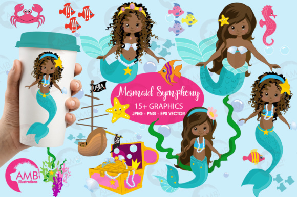 AA Mermaid Clipart Graphic Illustrations By AMBillustrations