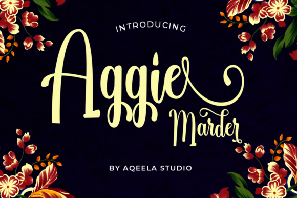 Print on Demand: Aggie Marder Script Script & Handwritten Font By Aqeela Studio