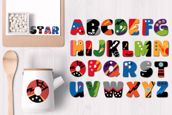 Print on Demand: Alphabet Superhero Uppercase Letters Gráfico Ilustraciones Por Revidevi