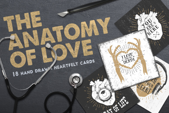 Print on Demand: Anatomy of Love. Collection of Cards (+Bonus) Graphic Print Templates By Cosmic Store