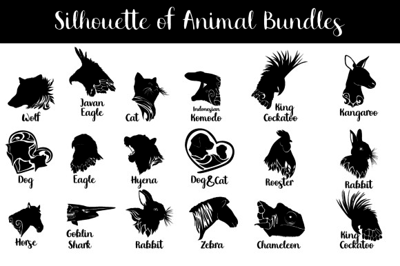 Print on Demand: Animal Silhouette Vector Bundle Grafik Illustrationen von Arief Sapta Adjie