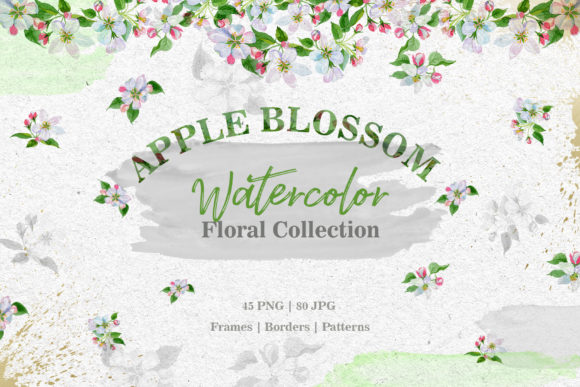 Print on Demand: Apple Blossom Watercolor Set Graphic Illustrations By MyStocks