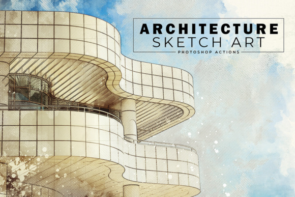 Download Free Architecture Sketch Art Photoshop Action Graphic By Creative for Cricut Explore, Silhouette and other cutting machines.