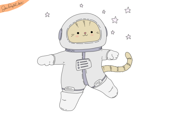 Astronaut Cat Illustration Graphic By Jen Digital Art Image 1
