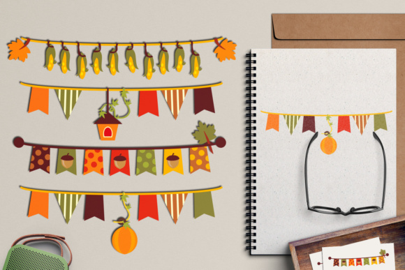 Print on Demand: Autumn Bunting Banners Graphic Illustrations By Revidevi