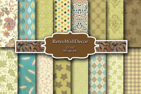Print on Demand: Autumn Digital Paper Graphic Backgrounds By retrowalldecor