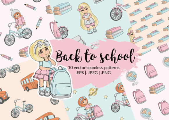 Print on Demand: BACK to SCHOOL Autumn Vector Seamless Pattern Set Graphic Patterns By FARAWAYKINGDOM