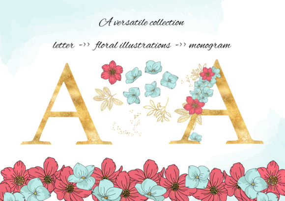 Download Free Bloom Floral Gold Vector Alphabet Frame Set Graphic By for Cricut Explore, Silhouette and other cutting machines.