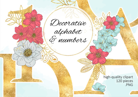 Print on Demand: BLOOM Floral Gold Vector Alphabet Frame Set Graphic Objects By FARAWAYKINGDOM