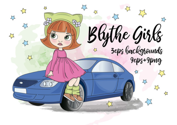 Print on Demand: Blythe Girls Color Vector Illustration Set Graphic Illustrations By FARAWAYKINGDOM