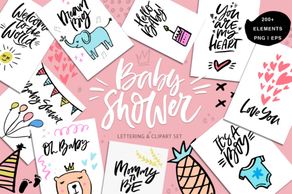 Baby Shower Collection Graphic Illustrations By Favete Art