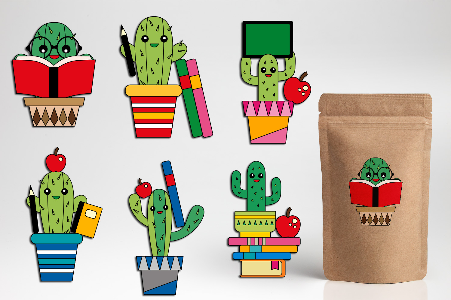 Download Free Back To School Cactus Graphic By Darrakadisha Creative Fabrica for Cricut Explore, Silhouette and other cutting machines.