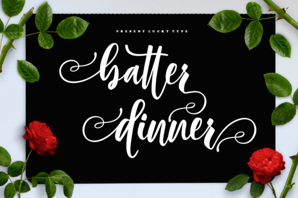 Print on Demand: Batter Dinner Script Script & Handwritten Font By luckytype.font