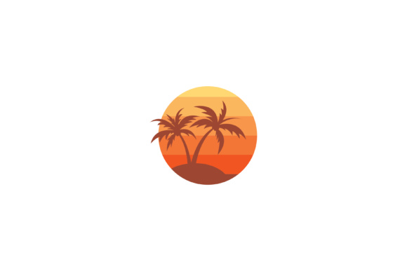 Download Free Beach Icon With Palm Tree Graphic By Sabavector Creative Fabrica for Cricut Explore, Silhouette and other cutting machines.
