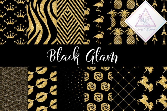 Print on Demand: Black Glam Digital Paper Graphic Textures By fantasycliparts