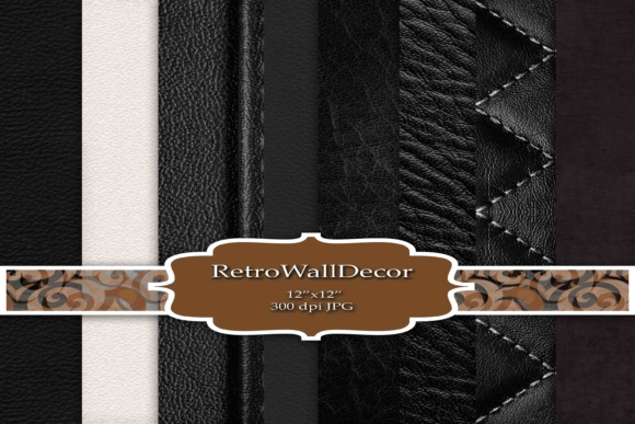Print on Demand: Black Leather Scrapbook Graphic Backgrounds By retrowalldecor - Image 1