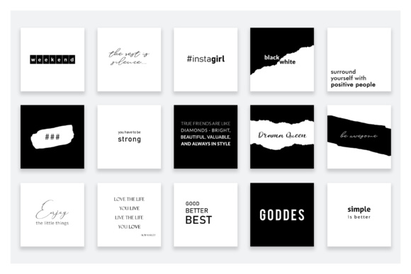 Black And White Quotes For Instagram Graphic By Stylishdesign