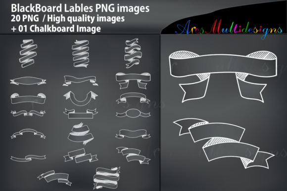 Print on Demand: Blackboard Banners Silhouette Graphic Crafts By Arcs Multidesigns