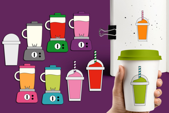 Print on Demand: Blender and Smoothie Drinks Graphic Illustrations By Revidevi