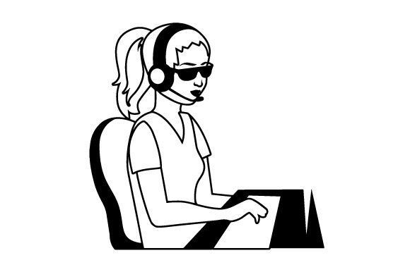 Download Free Blind Woman Working In A Call Center Svg Cut File By Creative for Cricut Explore, Silhouette and other cutting machines.
