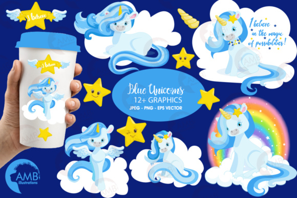 Download Free Blue Unicorns Clipart Graphic By Ambillustrations Creative Fabrica for Cricut Explore, Silhouette and other cutting machines.
