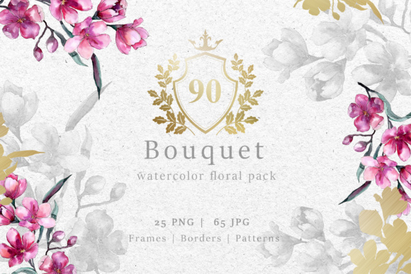 Print on Demand: Bouquet of Pink Flower Watercolor Pack Graphic Illustrations By MyStocks
